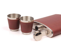 Stainless steel jug and glasses Royalty Free Stock Photo
