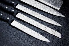 Stainless steel kitchen knives Royalty Free Stock Image