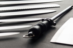 Stainless steel Kitchen knives. Detail high resolution image Stock Photography