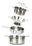 Stainless steel kitchenware Stock Photos