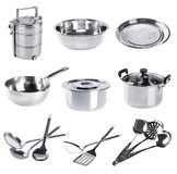 Stainless steel kitchenware collection on a background Stock Photography