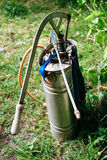 Stainless Steel Knapsack Manual Sprayer for the plants in the farm.  Stock Image