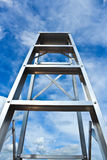 Stainless steel ladder to the sky Stock Photos