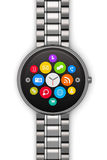 Stainless steel luxury smartwatch Royalty Free Stock Photos
