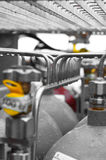 Stainless steel manifold piping Stock Photo