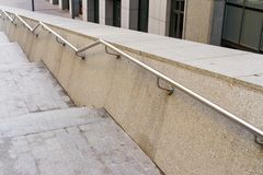 Stainless steel metal handrails stock photos
