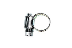 Stainless Steel Metal Hose Clamp isolated on a white background. Ideal tool for plumbers, construction workers and household repairing Stock Photo