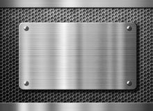 Stainless steel metal plate or nameboard Stock Images
