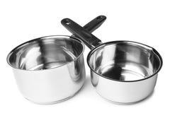 Stainless steel milk pans Stock Photos