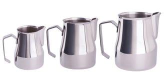 Free Stainless Steel Milk Pitcher/Jugs.  Foaming Jug. Stock Image - 138644801