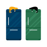 Stainless steel modern refrigerator vector illustration. Royalty Free Stock Photography
