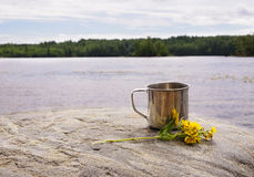 Stainless steel mug on stone near water on nature background Royalty Free Stock Photo