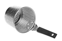 Stainless Steel Noodle Strainer Isolated. Isolated image of a stainless steel Chinese noodle strainer or sieve Stock Image