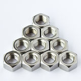 Stainless steel nuts Royalty Free Stock Images