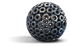 Stainless steel nuts forming sphere stock illustration