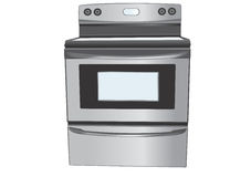 Stainless steel oven illustration Royalty Free Stock Photo