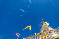 Stainless steel pagoda and blue sky at Songkhla Stock Images
