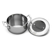 Stainless steel pan for cooking with the lid open Royalty Free Stock Photo