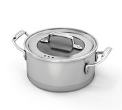 Stainless steel pan for cooking Stock Photos