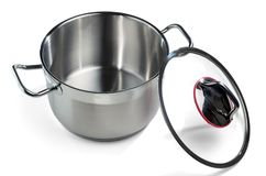 Stainless steel pan with the lid removed. Isolated on white background Royalty Free Stock Photo