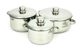 Stainless steel pans Stock Photos
