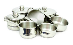 Stainless steel pans. Pans made of stainless steel on a white background Stock Image