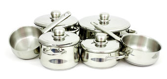 Stainless steel pans. Pans made of stainless steel on a white background Royalty Free Stock Images