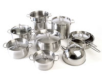 Stainless steel pans Stock Image