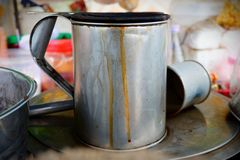 Stainless steel pitcher To boil water. royalty free stock photo