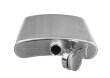 Stainless steel pocket hip flask Stock Photography