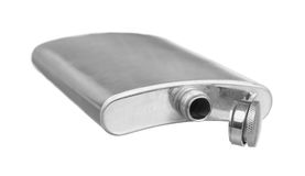 Stainless steel pocket hip flask Royalty Free Stock Photography