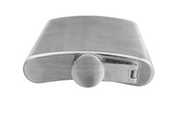 Stainless steel pocket hip flask Royalty Free Stock Images