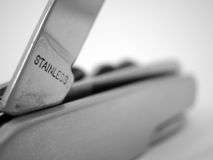Stainless Steel Pocket Knife. Letters stainless on a pocket knife stock images