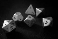 Stainless Steel Polyhedral Dice. A set of of polyhedral dice typically used in role playing games Stock Image