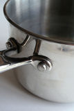 Stainless Steel Pot. A closeup of a stainless steel pot Royalty Free Stock Images