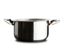 Stainless steel pot without cover Stock Photos