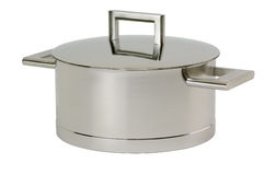 Stainless steel pot with cover. Isolated on white background royalty free stock photography