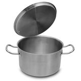 Stainless steel pot. Stock Photo