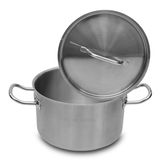 Stainless steel pot. Royalty Free Stock Photography