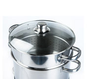 Stainless steel pot isolated on white background stock photography