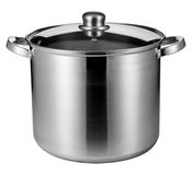 Stainless steel pot isolated on white. With clipping path Royalty Free Stock Images