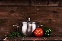 Stainless steel pot Stock Images