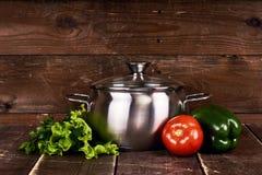 Stainless steel pot Stock Photo