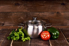 Stainless steel pot Royalty Free Stock Images