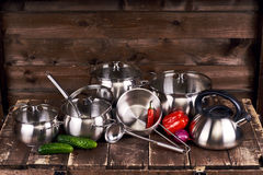 Stainless steel pots Royalty Free Stock Photos