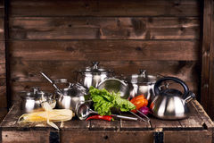 Stainless steel pots Stock Photography
