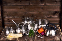 Stainless steel pots Stock Image