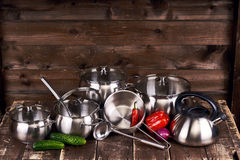 Stainless steel pots Royalty Free Stock Photography