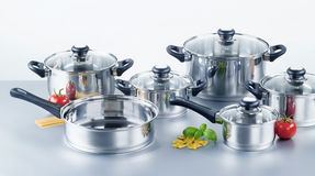 Stainless steel pots and pans Stock Photography