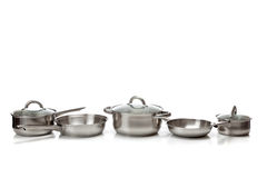 Stainless steel pots and pans Royalty Free Stock Photography